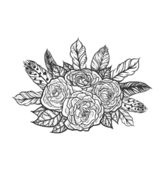 Blackwork tattoo of rose and feathers bouquet very vector