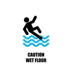 Blue wet floor sign flat icon vector