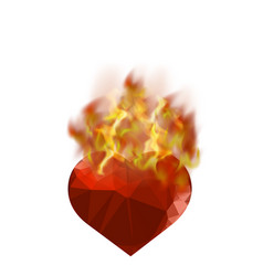 burning heart with fire flame vector image vector image