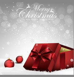 christmas decorations balls and gift box vector image vector image