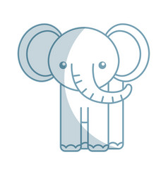 Cute shadow elephant cartoon vector