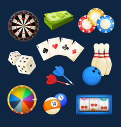 dice snooker casino games cards and other vector image vector image
