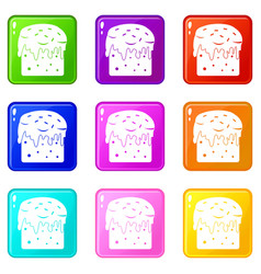 Easter cake icons 9 set vector