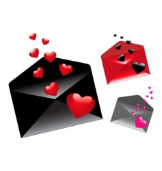 envelopes with hearts vector image vector image