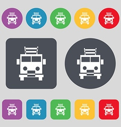Fire engine icon sign a set of 12 colored buttons vector
