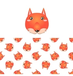 Fox Head Icon And Pattern vector image vector image