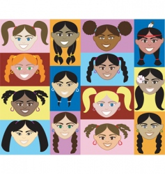 girls faces vector image
