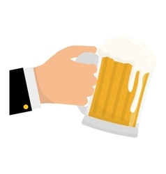 glass of beer in the hand icon design vector image vector image
