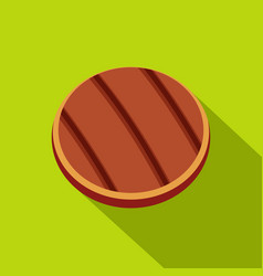 Grilled round beef steak icon flat style vector