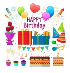 Happy birthday party cartoon elements vector
