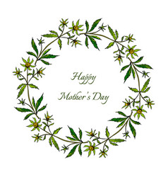 Happy mothers day card spring wreath with flowers vector