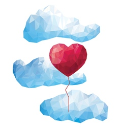Heart balloon in the clouds in style of low poly vector image vector image
