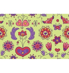 Heart Flower seamless pattern vector image