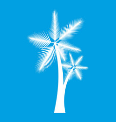 high palm tree icon white vector image vector image