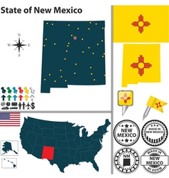 Map of New Mexico vector image vector image