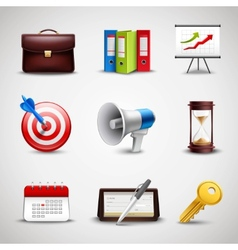 Realistic business icons vector