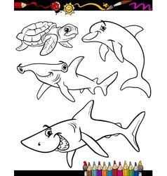 sea life animals cartoon coloring book vector image