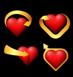 set of volume hearts with arrows vector image vector image