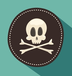 Skull and bones Jolly Roger - pirate icon black vector image