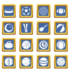 sport balls icons set blue vector image vector image