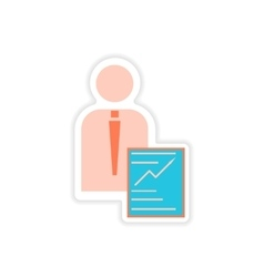 Stylish sticker on paper businessman and economic vector