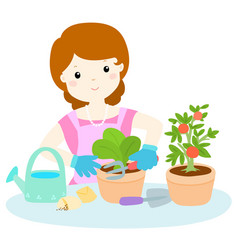 Woman planting healthy organic vegetable cartoon vector