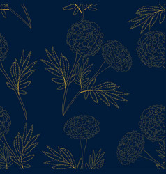 yellow marigold on indigo blue background vector image vector image