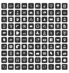 100 call center icons set black vector