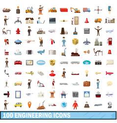 100 engineering icons set cartoon style vector