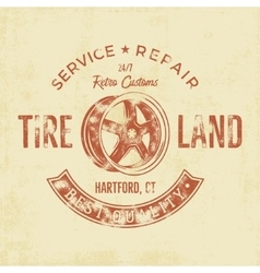 Garage service vintage tee design graphics tire vector