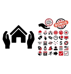 Realty insurance hands flat icon with bonus vector