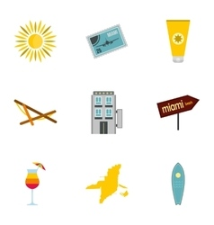 Miami icons set flat style vector