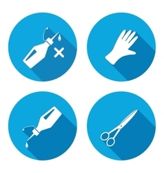 Tool icons set glue rubber gloves sclissors vector