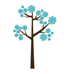 color silhouette with blue floral tree vector image