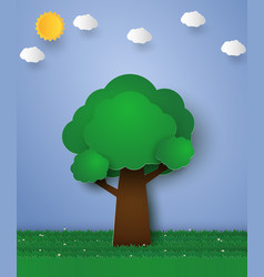 Green tree paper art style vector