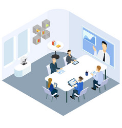 Isometric business coaching concept vector