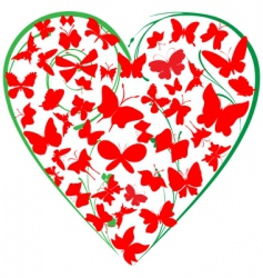 butterflies heart vector image