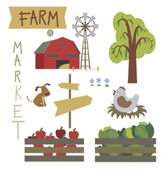 Farmer market set vector