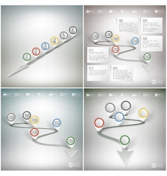 Timelines set with pointer marks infographics for vector