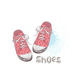 Pink childrens shoes vector