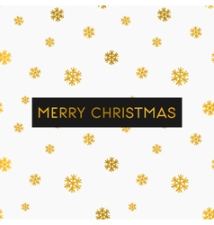 Gold foil snowflakes white merry christmas card vector