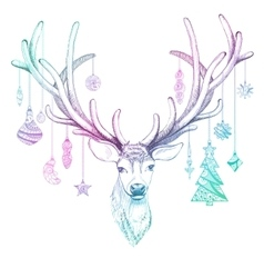 Christmas deer with decoration  eps10 vector