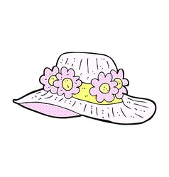 Comic cartoon summer hat vector