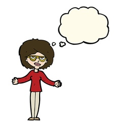 Cartoon woman wearing spectacles with thought vector