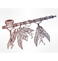 Pagan indian smoking pipe of peace vector