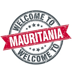 Welcome to mauritania red round vintage stamp vector