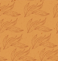 Seamless pattern of white outline leaves vector