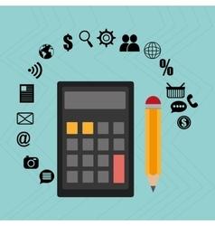 Calculator pencil buy shop vector