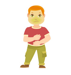 child has pain in stomach boy sick with green vector image vector image