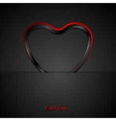 Contrast red black glossy heart background vector
